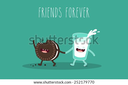 Glass of milk and chocolate cookies. Breakfast. Vector cartoon. Friends forever. comic characters.  - stock vector
