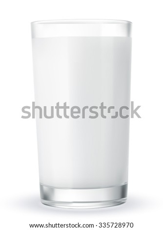 Glass of milk isolated on white. Vector illustration EPS-10