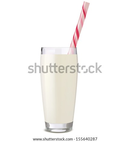 Glass of milk with tube isolated on white background. Vector illustration