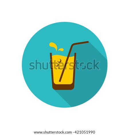 Glass of orange juice with straw, bubbles and water drops. Flat style icon logo with long shadow. - stock vector