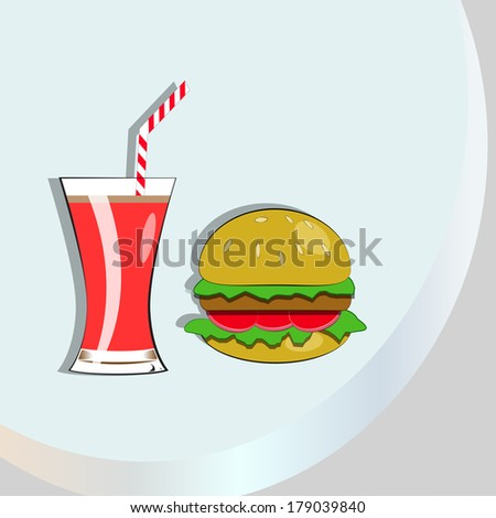 glass of red drink with burger, blue background with golden semicircle.