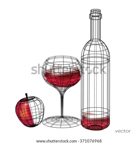 glass of red wine,vector set of glasses goblets in wireframe style. isolated on white. - stock vector