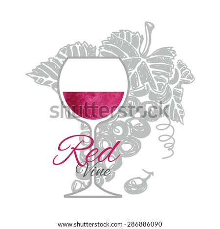 Glass of red wine with branch grapes on background. Had drawn sketch and art style. - stock vector