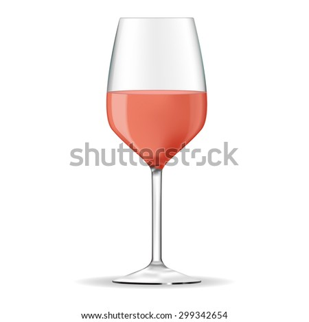 Glass of rose wine. Vector drawing isolated