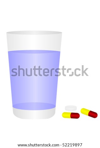 Glass of water and pills, isolated on white background - stock vector