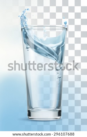 Glass of water, vector illustration - stock vector