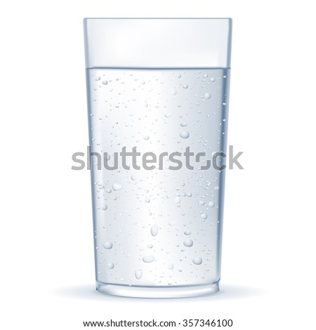 Glass of  water with drops.  Vector illustration isolated on white background.