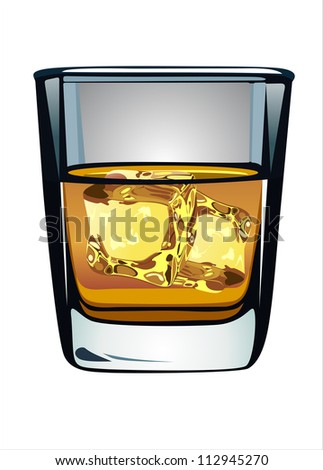 Glass of whiskey and ice isolated on white background - stock vector