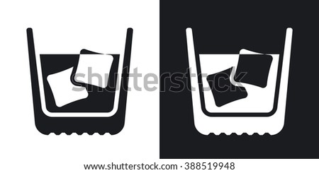 Glass of whiskey with ice. Vector icon. Two-tone version on black and white background - stock vector