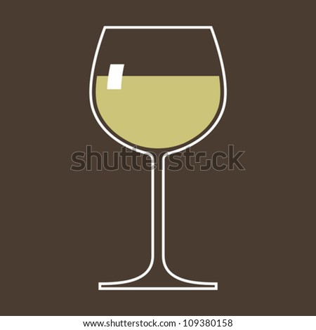 Glass of white wine - stock vector