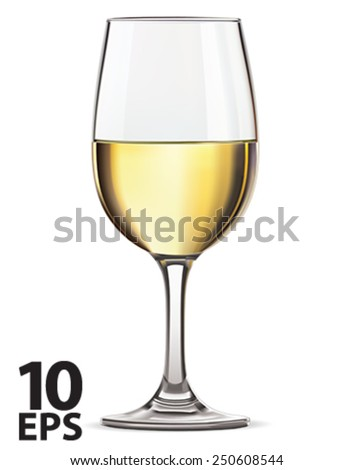 Glass of white wine, isolated. Vector illustration - stock vector