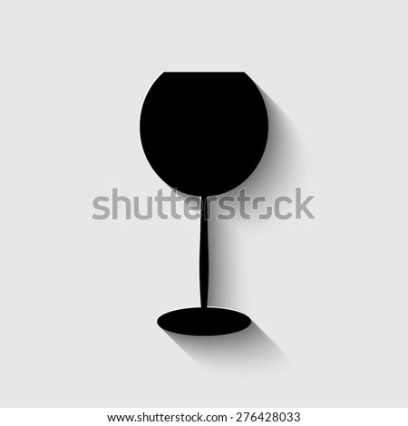 Glass Of Wine Icon  on a grey background