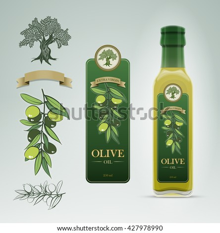 Glass oil olive bottle and label design template. Detailed vector illustration. Easy editable. - stock vector