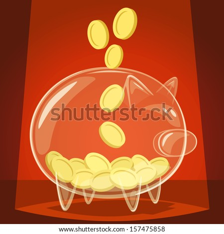 Glass piggy bank. Vector illustration. - stock vector