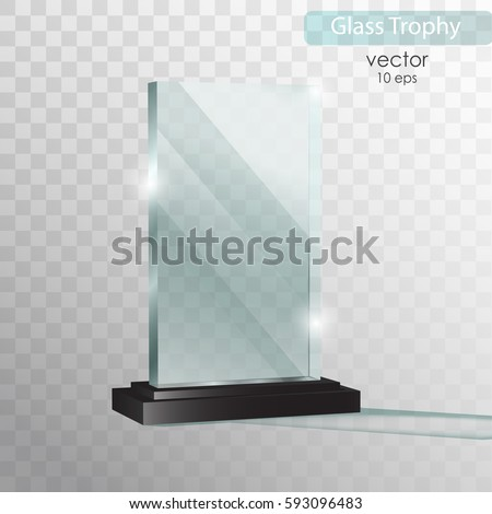 Glass Plate Trophy Award Vector Illustration Isolated On Transparent Background Realistic 3D