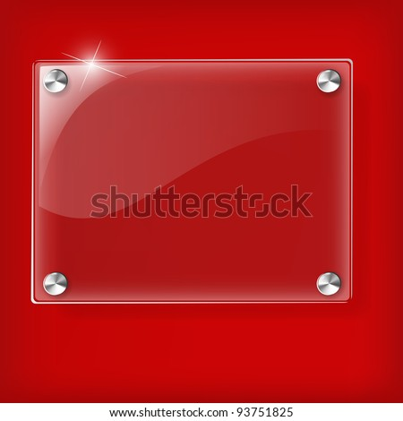 Glass plate on Red background - Vector Illustration - stock vector