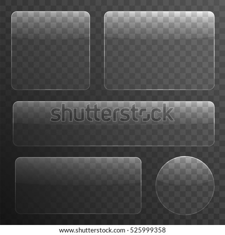 Glass Plates Set on Transparent Background. Vector