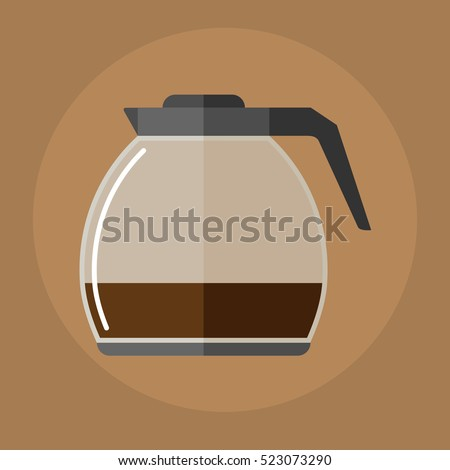 glass pot with coffee flat icon