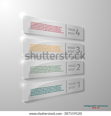 Glass rectangle elements for infographic, advertising card and other, vector illustration - stock vector