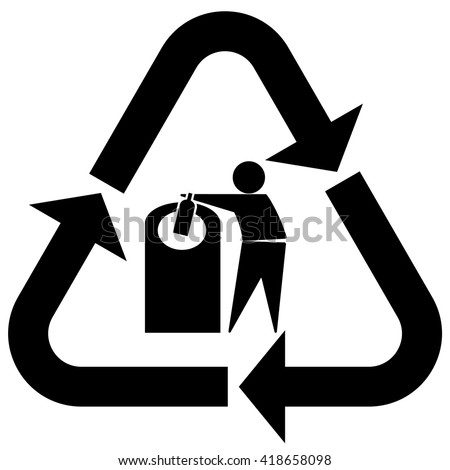 Glass recycling symbol tidy man, Glass recycling icon with tidy man and bottle, vector illustration - stock vector