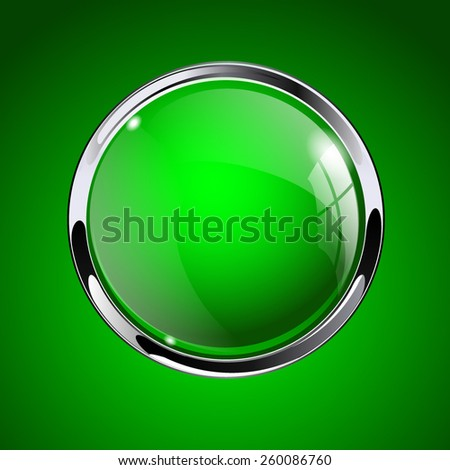Glass round button, green  web  icon with metallic frame. Vector Illustration  on green background. - stock vector