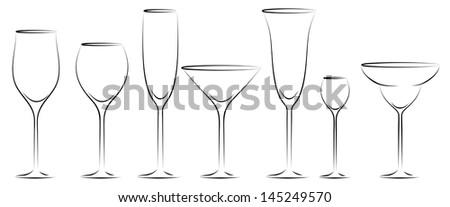 Glass set - stock vector