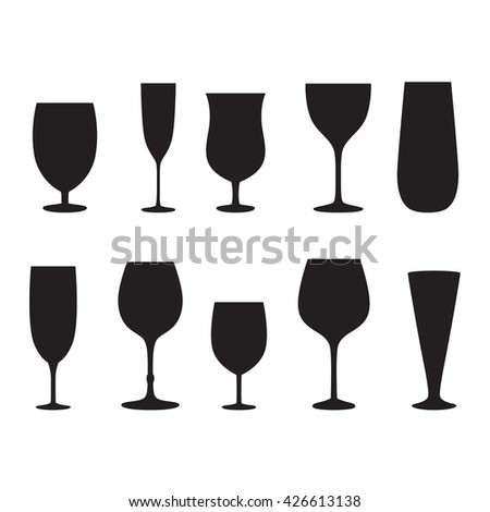 Glass set or collection. - stock vector