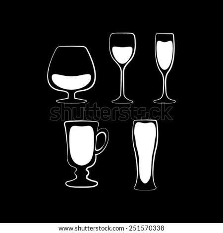 Glass set or collection on a black background - stock vector