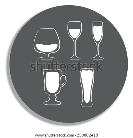 Glass set or collection on a grey background - stock vector