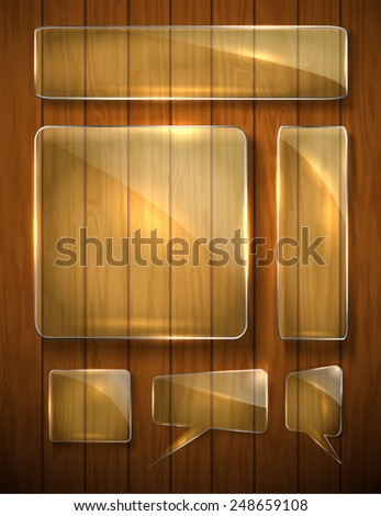 glass shapes on the wooden texture. Square, rectangle creative forms. Tips for the site. vector - stock vector