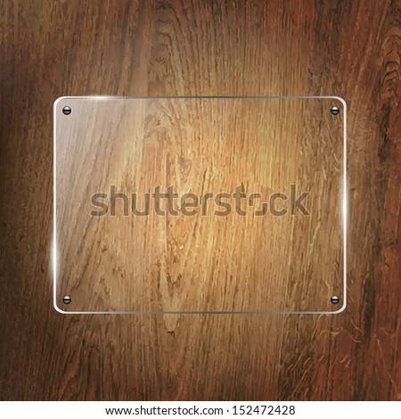 Glass Shelf On Wood Background, Vector Illustration - stock vector
