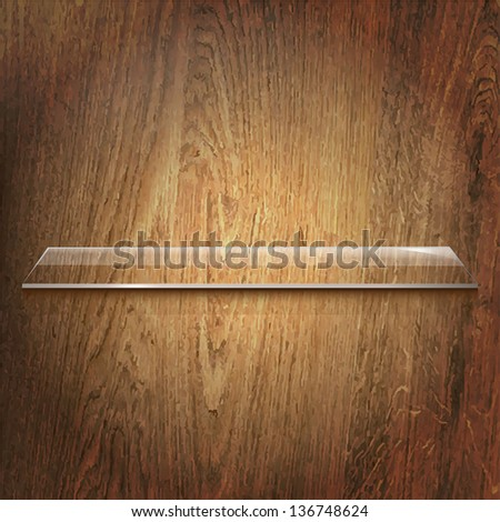 Glass Shelf On Wooden Background, Vector Illustration