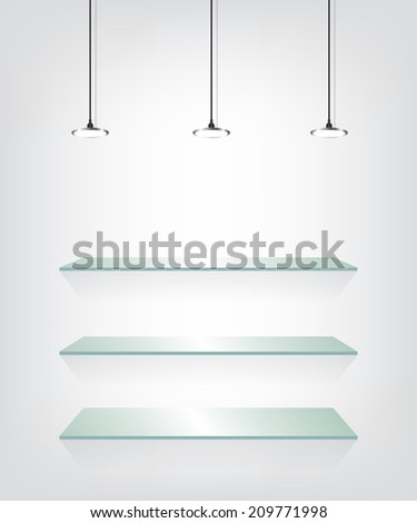 Glass shelves with spot light - stock vector