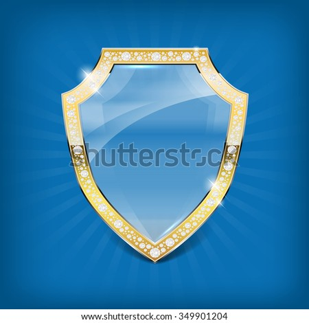 Glass shield with gold frame and diamonds on blue background - vector illustration. - stock vector