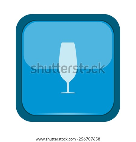 Glass silhouette on a blue button - stock vector