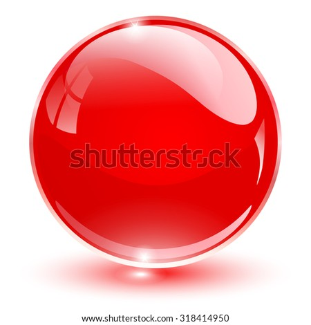 Glass sphere, red vector ball.