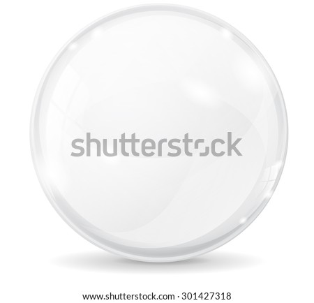 Glass sphere. White transparent glass ball. Vector  isolated on white background - stock vector