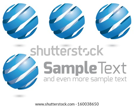 Glass Spheres and Ribbon. Collection of four vector logo design elements, easily editable with global color swatches. - stock vector