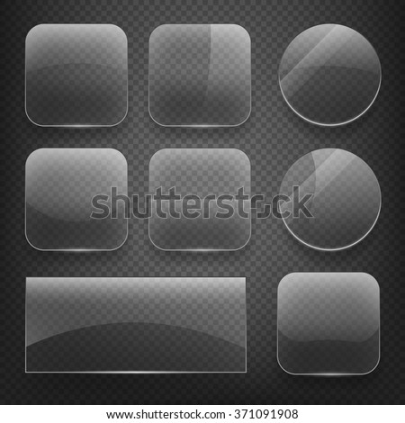 Glass square, rectangular and round buttons on checkered background. Gloss glass, blank glass, empty round glass, shiny glass button, rectangular transparent glass. Vector illustration icons set - stock vector