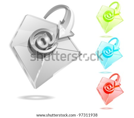 Glass style envelope - stock vector