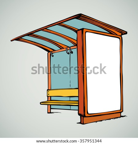 Glass suburb racing publicity bus stop with ad sample brand and plastic chair isolated on white backdrop. Freehand color drawn symbol sketch in art doodle modern style. View outline with space for text - stock vector