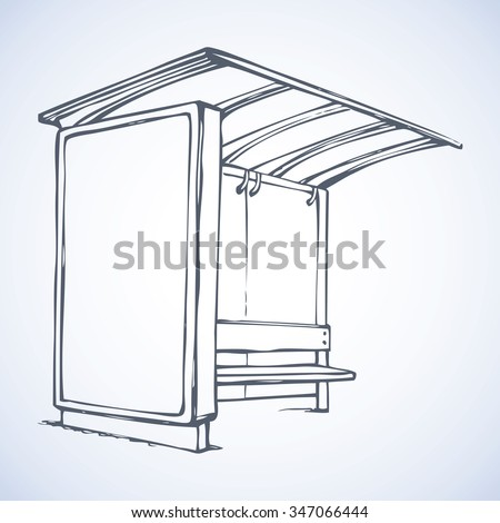 Glass suburb racing publicity busstop with ad sample brand and plastic chair isolated on white backdrop. Freehand ink drawn symbol sketch in art doodle modern style. View outline with space for text - stock vector