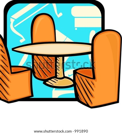 Glass table and 3 chairs.Pantone colors.Vector illustration
