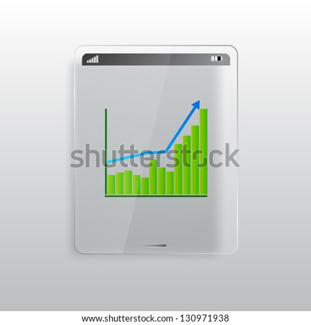 Glass tablet PC with diagram on display. EPS10 vector