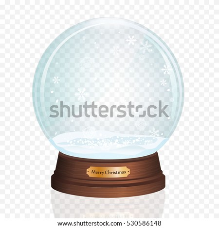 Glass Toy. Snow realistic globe. Vector illustration. New year christmas object.