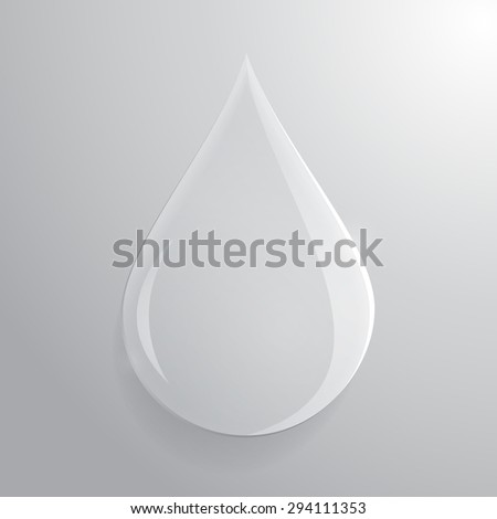 Glass transparent drop over grey background. Vector eps10.