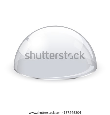 Glass transparent half-sphere - stock vector