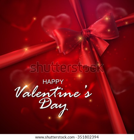 Glass transparent hearts with sparkles, red bow and ribbon. Vector holiday illustration. Happy Valentines Day  - stock vector