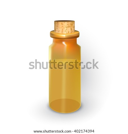 glass vial with a wooden stopper with liquid, perfumes, aromatherapy oils, on a white background, spa vector icon