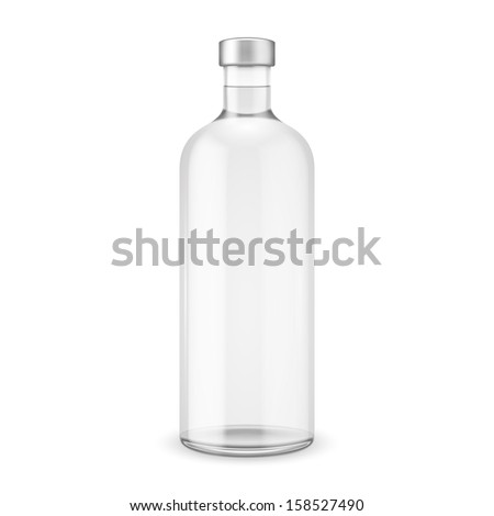 Glass vodka bottle with silver cap. Vector illustration. Glass bottle collection, item 10. - stock vector
